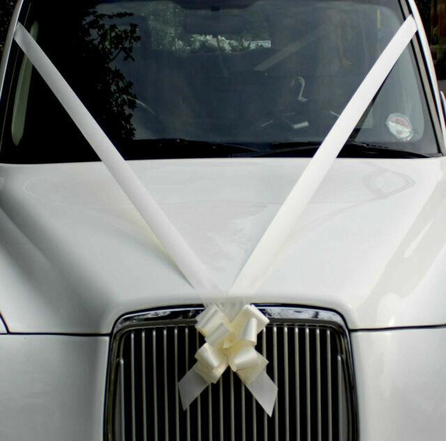 White Wedding Car Decoration Kit 3 Large Bows /& 7 Metres of Ribbon FAST FREEPOST