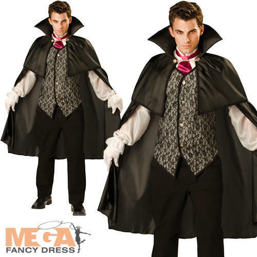 Midnight Vampire Mens Halloween Fancy Dress Dracula Adults Costume Horror Outfit