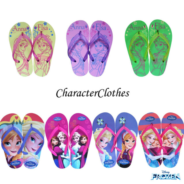 New Girls Character DISNEY FROZEN Beach Flip Flops Kids Pool Sandals Sizes 9-2