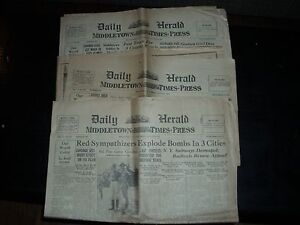 (3) CONSECUTIVE ISSUES OF THE MIDDLETOWN TIMES PRESS. AUGUST 4,5 & 6, 1927