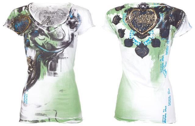 Archaic AFFLICTION Womens T-Shirt CUTE GIRL Heart Tattoo Biker Sinful S-XL $40 b