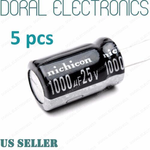 5 Pcs 1000 uF 1000MFD 25V 105°C Electrolytic Capacitor 10X20mm 1000UF MDF 105C
