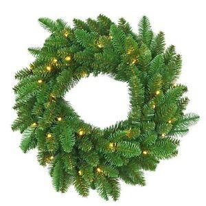 55-cm-Pre-Illuminato-Decorato-Decorazione-Natalizia-Ghirlanda-Porta-Natale-Arredamento-Luci
