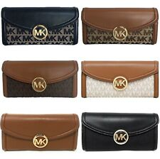Michael Kors Jet Set Fulton Large Flap Continental Wallet Vanilla MK Brown Logo
