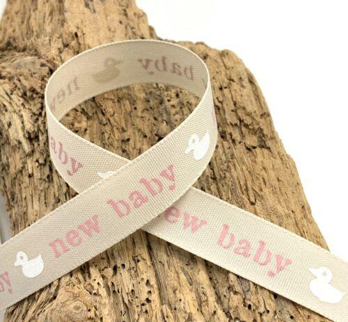 Nouveau bébé rubans-bleu ou rose-bébé garçon-Baby Girl-Lapin de Pâques 15 mm 1 M 3 m