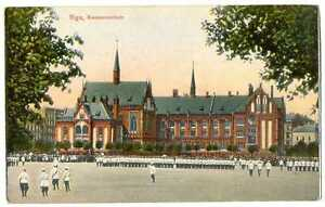 Russian Imperial Town View Riga Kommerzschule Military Parade PC