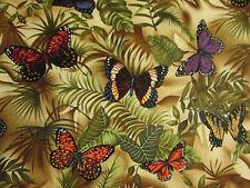 Butterfly Natural Butterflies Ferns Cotton Fabric BTHY