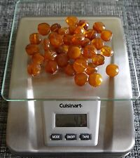 47 Gram Natural ( Cognac & Butterscotch) Baltic Amber Disc shape beads. 38 beads