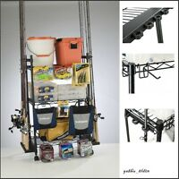 Fishing Rod Rack Pole Reel Tackle Box Hook Storage Organizer Rolling Cart Gear
