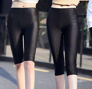 Women-Shiny-Metallic-Wet-look-Shorts-Safety-Short-Cropped-Pants-Panties-Leggings