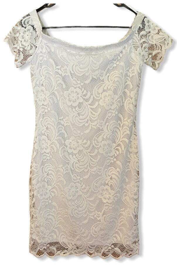 Lace Short Dress White For Cocktail / Party / Club ; Size Large NWT Ambiance