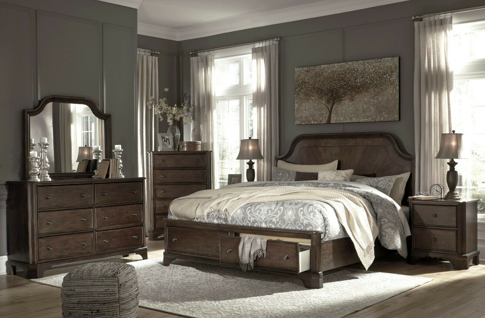 Picture of: Ashley Furniture Adinton Queen Panel 6 Piece Storage Bedroom Set For Sale Online