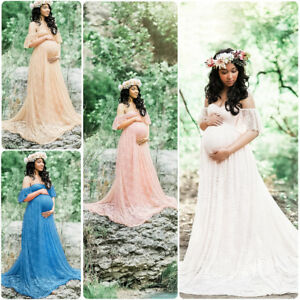 fc5ddbb894a42 Image is loading Pregnant-Women-Off-Shoulder-Lace-Maxi-Dress-Gown-