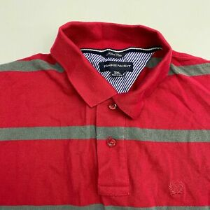 Fahrenheit Polo Shirt Men's Size 3XL XXXL Short Sleeve Red Gray Striped Fitted