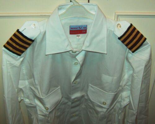 Gents PILOT Shirt SELECTION LS /& SS WHITE or BLUE Epaulette Straps /& Pocket NEW