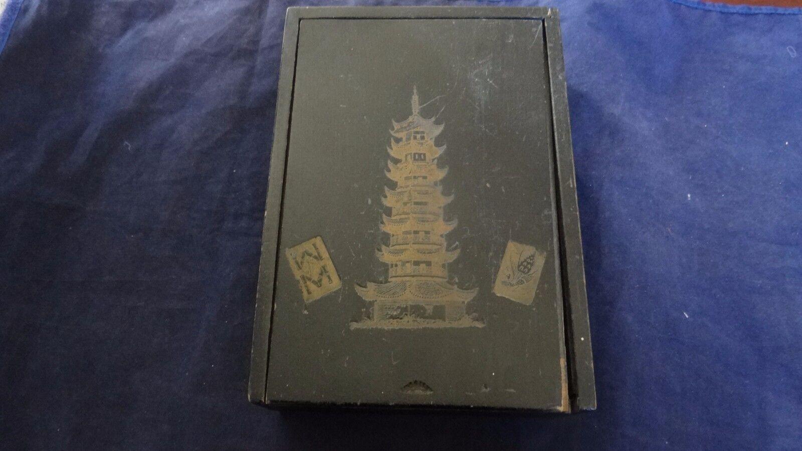 Vintage 1924 Mah Jong Bone Bamboo Set With Box And Instructions