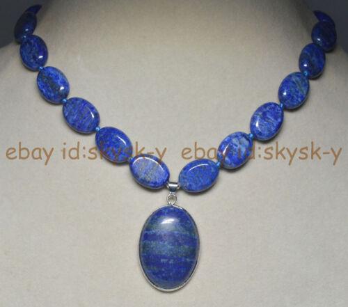 "Naturel Bleu LAPIS LAZULI Gemstone Ovale Perles Collier Pendentif 18/"" AA"