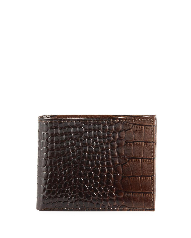 Joe's, Men's Bi-Fold Wallet Hipster Crocodile-Embossed Leather