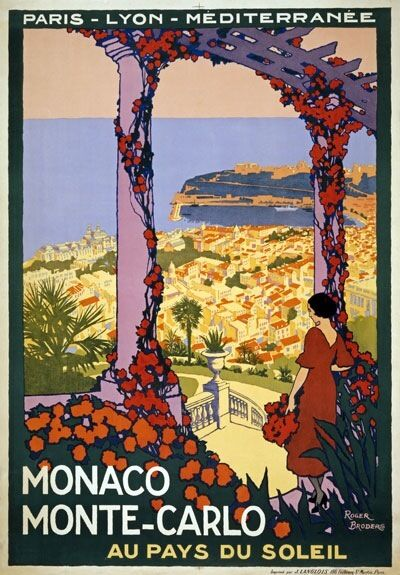 TW80 Vintage 1920 Monaco Monte-Carlo Travel Poster Roger Broders A1/A2/A3/A4