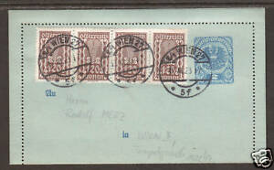 Austria-Mi-K57-uprated-with-Sc-379-strip-of-4-on-1921-Letter-Card
