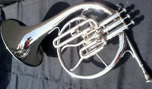 MELLOPHONE-OF-PURE-BRASS-IN-SILVER-POLISH-EXTRA-SLIDE-CASE-MOUTHPC-FREE-SHIP
