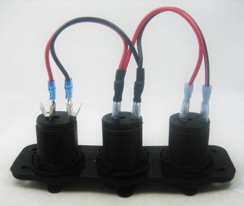 12V Socket Panel Marine Voltmeter Fused Triple Fast Smart 4.2 Amp USB Charger