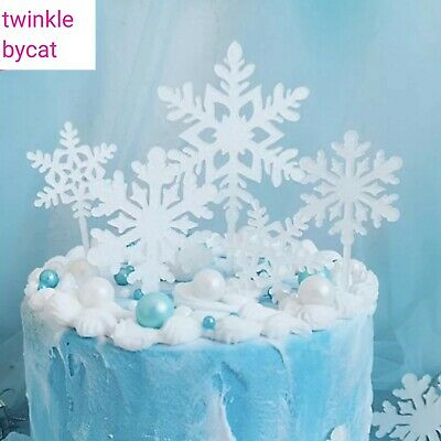 Excellent 4Pcs Acrylic White Glitter Snowflake Frozen Elsa Cake Cupcake Funny Birthday Cards Online Alyptdamsfinfo