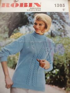 Mode 2019 Vintage Rare Robin 1960 S Dk Knitting Pattern Femmes Motif Pull 32 - 38 In (environ 96.52 Cm)-afficher Le Titre D'origine Promouvoir La Santé Et GuéRir Les Maladies