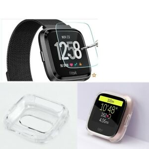 Silicone TPU Frame Clear Case + Tempered Glass Screen Protector for Fitbit Versa