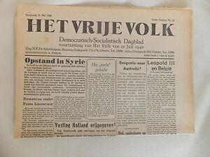 2-WELTKRIEG-NIEDERLANDE-ORIGINAL-ZEITUNG-HET-VRIJE-VOLK-31-MAI-1945