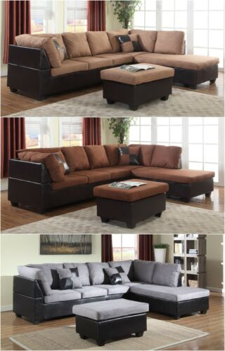 The Room Style Sectional Sofa Furniture Microfiber Couch Living Set 3 Color