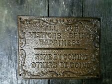 04960dd61d9b Cast Iron Plaque All Our Visitors Bring Happiness, Some by Coming, Some by  Going