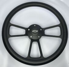 """14"""" Black Billet 5 Hole Steering Wheel (Black Half Wrap and Chevy Horn Button)"""
