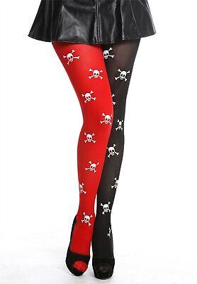 Collant Collant Donna Halloween Rosso Nero Teschi Pirata Punk K0820 Per Godere Di Alta Reputazione A Casa E All'Estero