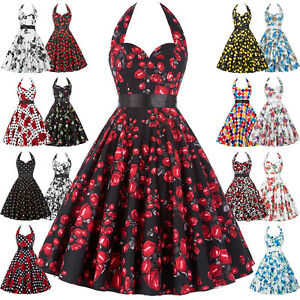 PLUS-SIZE-Womens-Floral-50s-VINTAGE-Style-Tea-Dress-Swing-Evening-Party-Dress