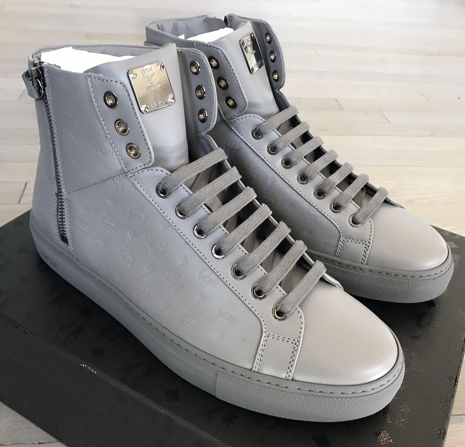 600  MCM Light Grigio High Tops Leather Scarpe da Ginnastica size US 10 Made in Italy