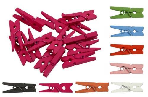 36 WÄSCHEKLAMMERN Mini KLAMMERN 25 mm aus HOLZ verschiedene Farben