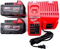 (2) M18 Milwaukee 5.0 Ah Batteries 48-11-1850, (1) Charger 18v 18 Volt
