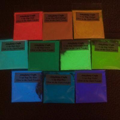 Glow In The Dark Powder Pigment ~ 1/2 teaspoon bag ~ Arts Crafts Acrylic SOG