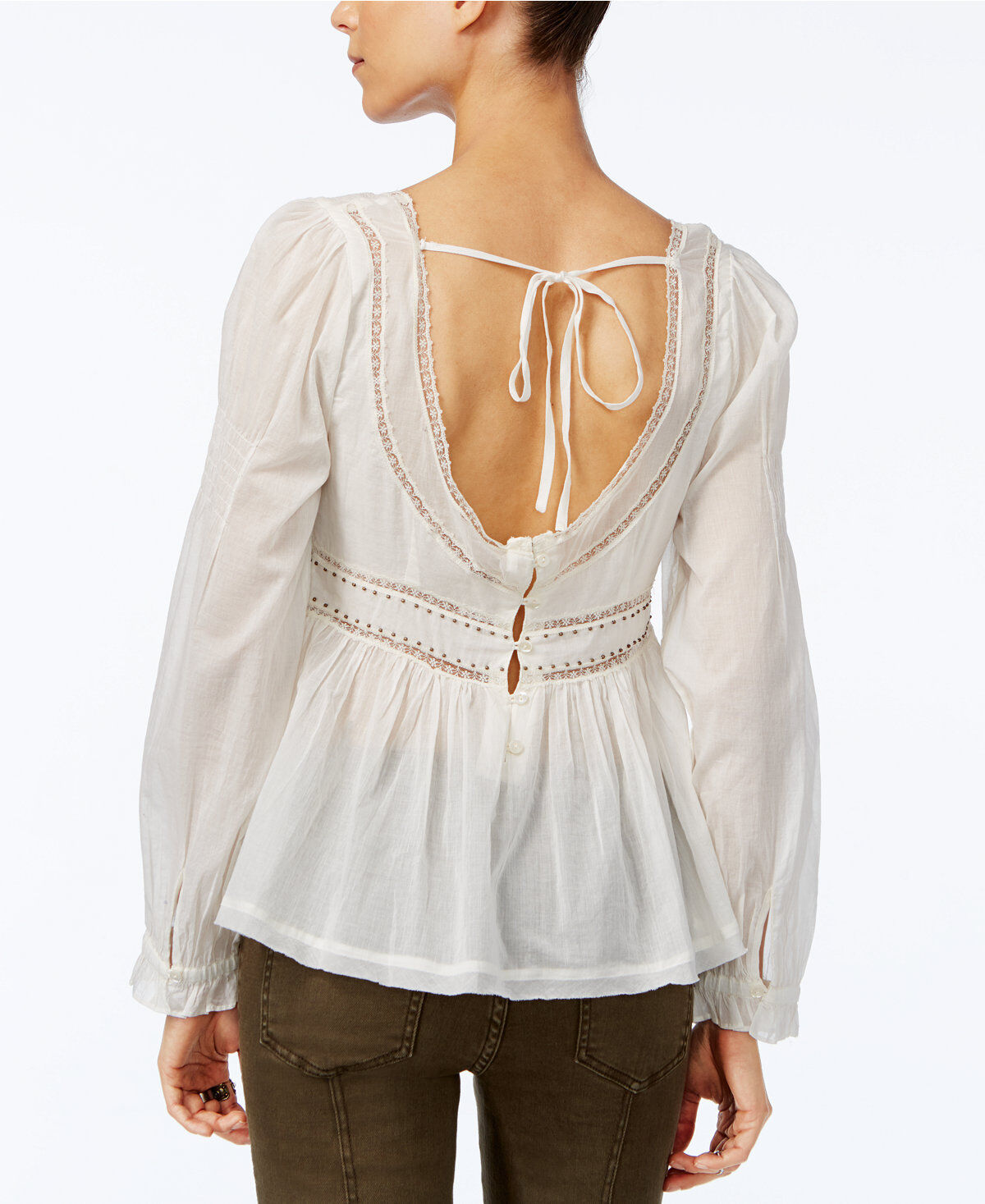 Free People damen New  Ivory Square-Neck Embellished Lace Peasant Top XS