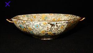 Vintage-Grimwades-Hand-Painted-Enamelled-Chintz-2-Handled-Octagonal-Dish