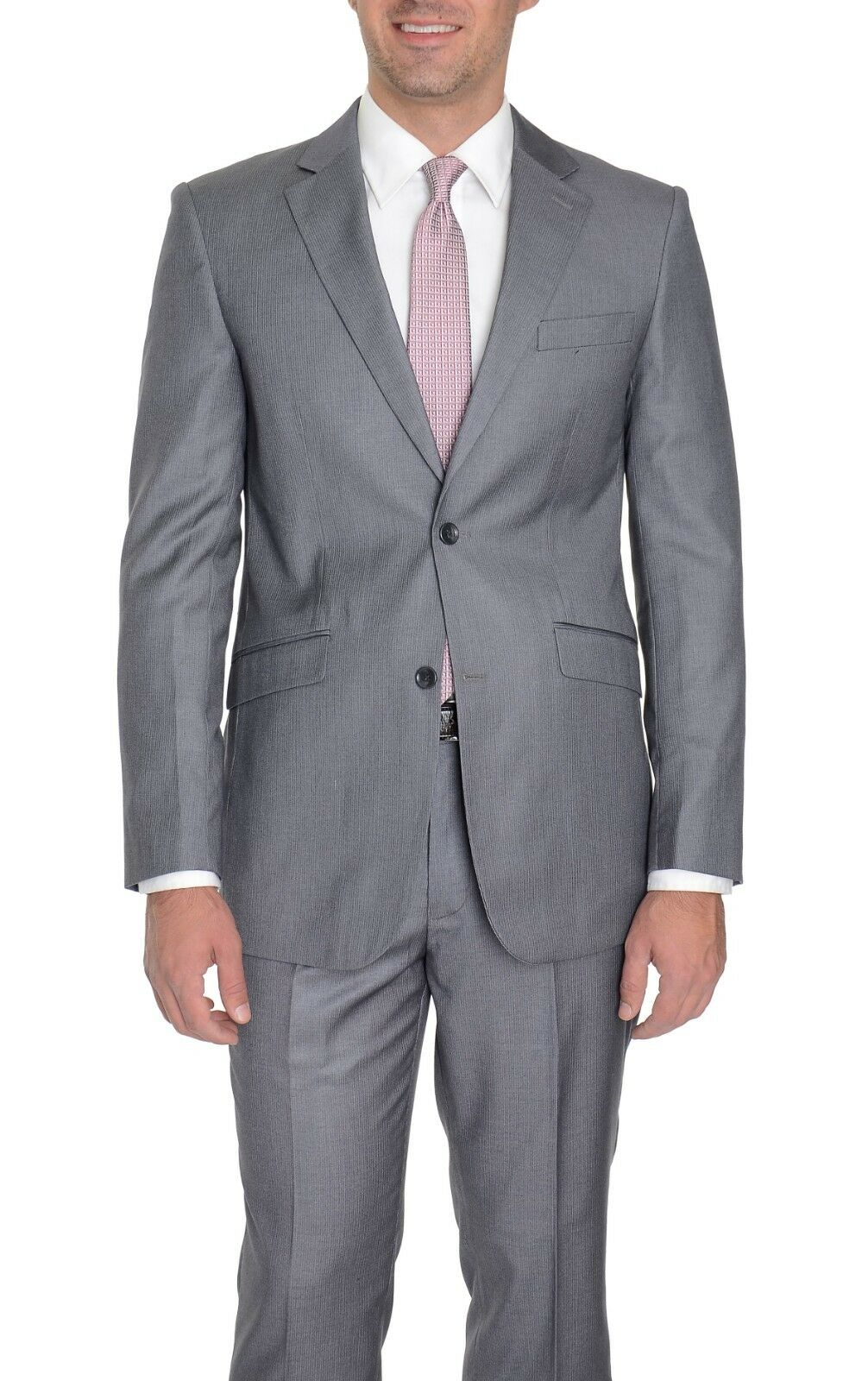 399 Gulliano Couture Modern Fit grau Pinstriped Two Button Suit 46R 38W