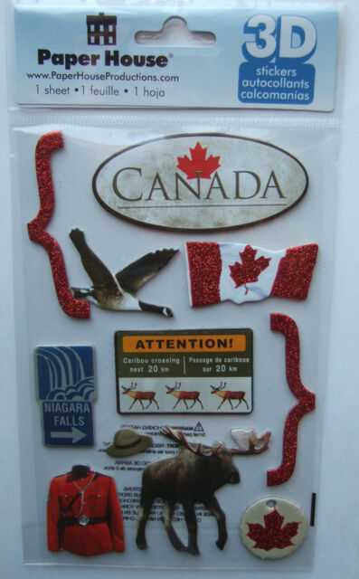 ~CANADA~ Paper House Productions 3D Stickers; Niagra Falls vacation, Flag, moose