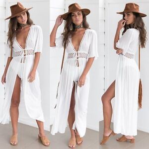 7b00a9724 Women Chiffon Kimono Beach Cardigan Bikini Cover Up Wrap Beachwear ...
