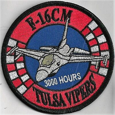 USAF 125TH FIGHTER SQ  PATCH TINSEL//COLOR /'F-16CM TULSA VIPERS/'  1000 HRS