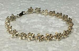 Vtg-Solid-Sterling-Silver-Micro-Flower-7-5-in-034-white-stone-Bracelet-925-Petite