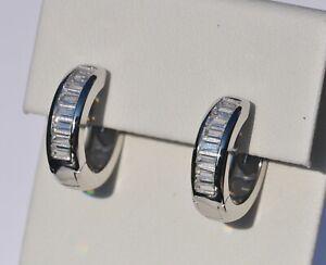 Echt-925-Sterling-Silber-Ohrringe-Creolen-mit-Zirkonia-Hochzeit-Nr-263