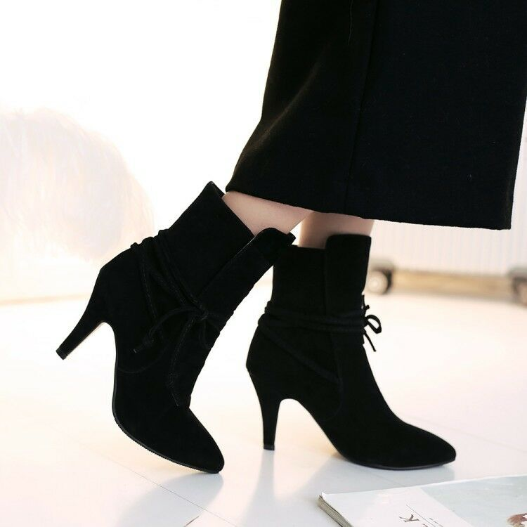 Pointed Toe Lace Up Combat Womens Stiletto Heels Suede Outdoor Dress Ankle Boots