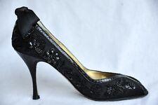 DOLCE&GABBANA Black Satin Beaded Bow Floral Peep-Toe High Heel Pump 7.5-37.5