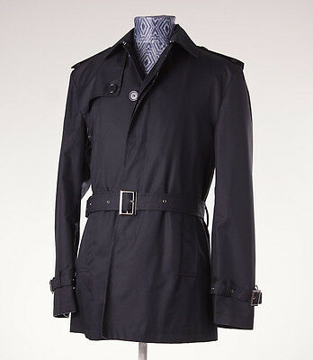 NWT $1695 BATTISTI NAPOLI Black Trench Coat w/ Soft Flannel Lining 36 R Italy
